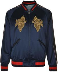 Gucci - Floral Embroidery Silk Bomber Jacket - Lyst