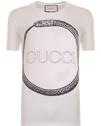 e41ccdf2b1c9 Gucci Snake-print Cotton T-shirt in White for Men - Lyst