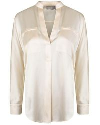 Vince Collar Band Popover Blouse - White