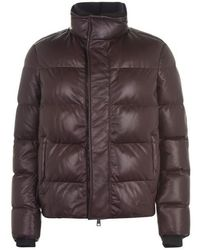 Brioni Leather Down Jacket - Brown