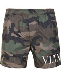 Valentino - Camouflage Logo Swim Shorts - Lyst