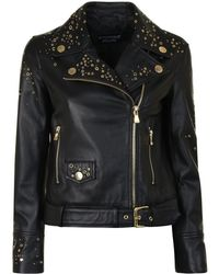 Boutique Moschino - Star Studded Leather Jacket - Lyst
