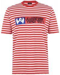 DIESEL Striped Print T-shirt - Red