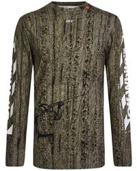 Off-White c/o Virgil Abloh Camouflage Long Sleeve T Shirt - Green