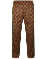 Gucci Gg Supreme Web Track Trousers - Brown