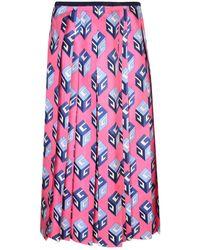Gucci Gg Wallpaper Print Silk Skirt - Pink