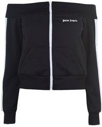 Palm Angels Off-the-shoulder Track Jacket - Black