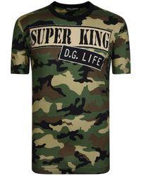 Dolce & Gabbana Camouflage Print Slogan T-shirt - Green
