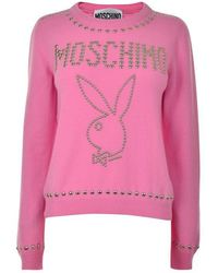 Moschino Stud Playboy Knitted Jumper - Pink