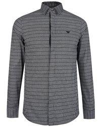 Emporio Armani Detachable Collar Logo Shirt - Black