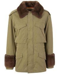 Gucci Cotton Parka With Mink Fur - Green