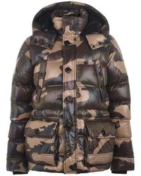Moncler Camouflage Print Padded Hooded Jacket - Multicolor