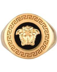 Versace Round Medusa Signet Ring - Metallic