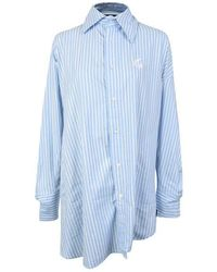 Vivienne Westwood Anglomania Chaos Asymmetric Striped Shirt - Blue