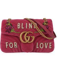 52333c58458 Lyst - Gucci Dionysus Blind For Love Embroidered Snakeskin Shoulder ...