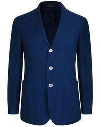 Polo Ralph Lauren Cotton Textured Blazer - Blue