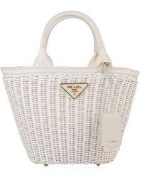 Prada - Wicker Canvas Bag - Lyst