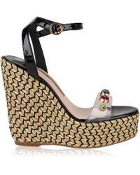 Sophia Webster Dina Embellished Vinyl And Patent-leather Espadrille Wedge Sandals - Black