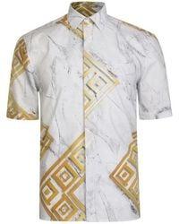 Versace Motif Short Sleeve Shirt - White
