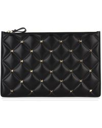 1cdc43f6108 Saint Laurent Black Quilted Leather Clutch Bag in Black - Save ...