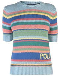 Polo Ralph Lauren Striped Short Sleeve Jumper - Blue