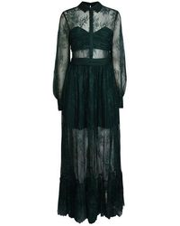 Self-Portrait Floral Fine Lace Maxi Dress - Green