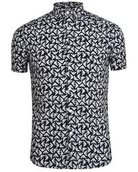 Emporio Armani Slim Fit Eagle Navy Short Sleeve Shirt - Blue