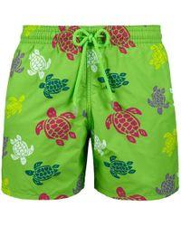 Vilebrequin Men's Moorea Turtles Swim Trunks - Green