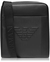 Emporio Armani Embossed Messenger Bag - Black