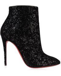 Christian Louboutin Eloise 100 Black Velvet Glitter Boots