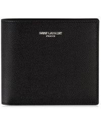 Saint Laurent East West Grained Leather Wallet - Black