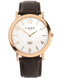 Links of London - Noble Slim Unisex Rose Gold Plate And Brown Leather Watch - Lyst