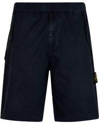 Stone Island - Drawstring Badge Shorts - Lyst