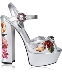 Dolce & Gabbana Floral Platform Nappa Leather Sandals - Multicolour