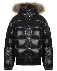 e7f44d635 Moncler Black Down Shiny Hooded Gaura Jacket - Lyst