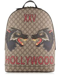 33a4202c4 Gucci Wolf GG Supreme-print Canvas Backpack in Brown for Men - Lyst