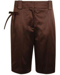 Prada Silk Blend Shorts - Brown