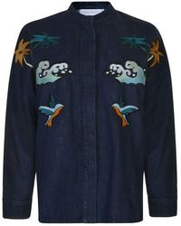 Victoria, Victoria Beckham - Embroidered Denim Jacket - Lyst