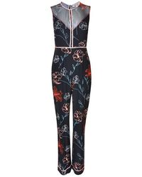 Diane von Furstenberg Floral Silk Jumpsuit - Black
