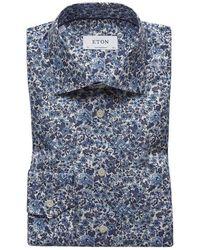 Eton of Sweden Poplin Floral Print Slim Contemporary Fit Shirt - Blue