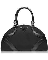 Prada Leather And Nylon Top Handle Bag - Black