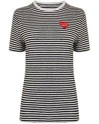 Zoe Karssen Stripe Embroidered T Shirt - Black