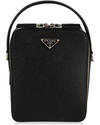 Prada Brique Saffiano Leather Bag - Black