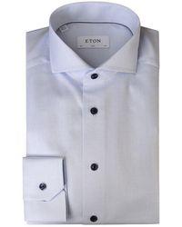 Eton of Sweden Slim Fit Twill Shirt - Blue