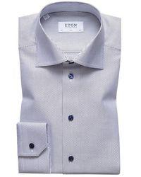 Eton of Sweden Slim Fit Weave Shirt - Blue