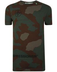 Off-White c/o Virgil Abloh Camouflage Stencil Short Sleeved T Shirt - Black