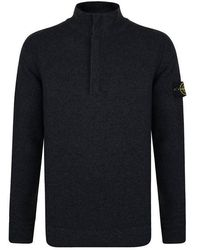 Stone Island Quarter Zip Sweatshirt - Blue