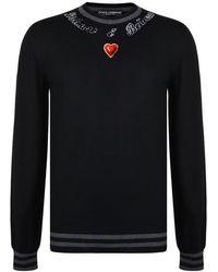 Dolce & Gabbana Velvet Heart Knitted Sweater - Black