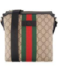 Gucci - Gg Supreme Flat Messenger Bag - Lyst