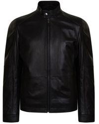 BOSS Numano Leather Jacket - Black
